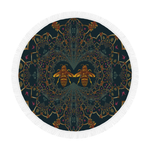 Baroque Honey Bee Extinction- Circular French Gothic Medallion Throw in Midnight Teal | Le Leanian™