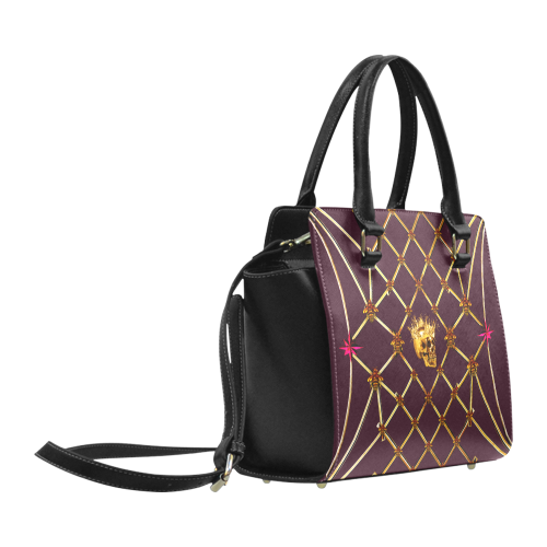 Skull & Honeycomb- Classic French Gothic Satchel Handbag in Eggplant Wine | Le Leanian™
