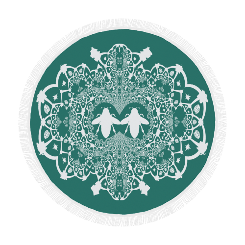 Baroque Hive Relief- Circular French Gothic Medallion Throw in Jade | Le Leanian™
