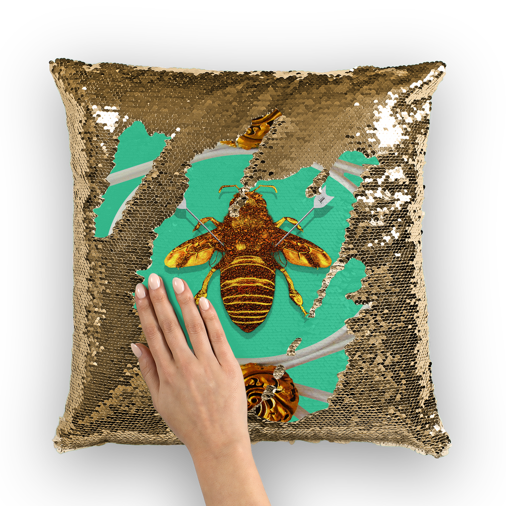 Versailles Queen Bee -French Gothic Sequin Pillow Case Throw Pillow- Bright Jade Teal Blue Green