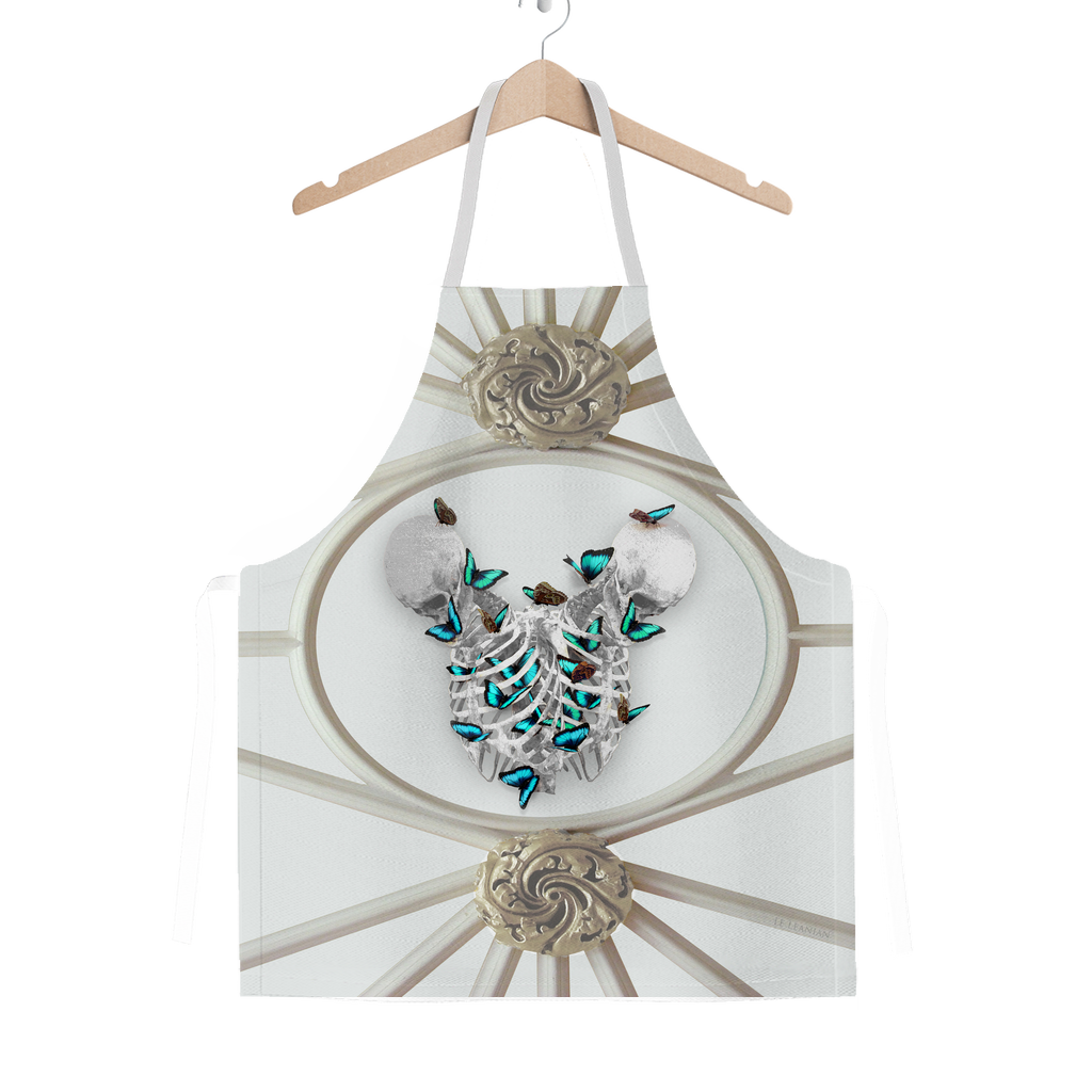 Versailles Divergence Skull Teal Whispers- Classic French Gothic Apron in Lightest Gray | Le Leanian™