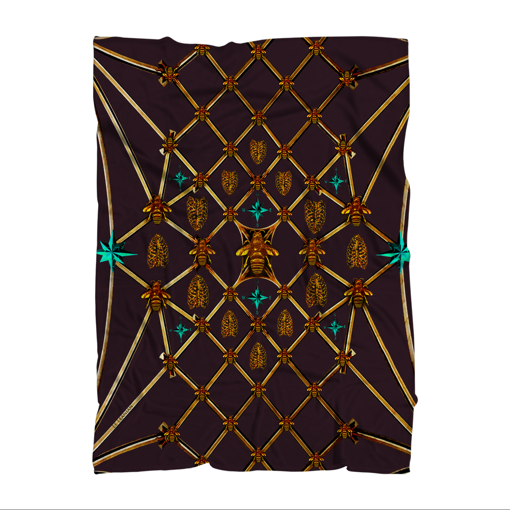 Gilded Bees & Ribs Teal Stars- Classic French Gothic Fleece Blanket in Muted Eggplant Wine | Le Leanian™