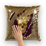 Gold Sequin Pillow Case-Gold Skull-Gold WREATH in color EGGPLANT WINE, WINE RED, BURGUNDY