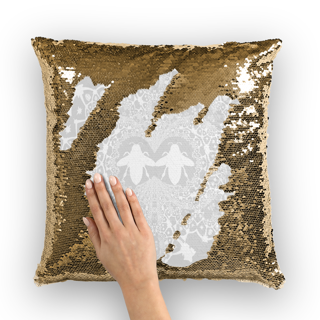 Sequin Gold & BLACK PILLOW CASE-Throw PILLOW-Baroque Bee Pattern-Color LIGHT GRAY, GREY & WHITE
