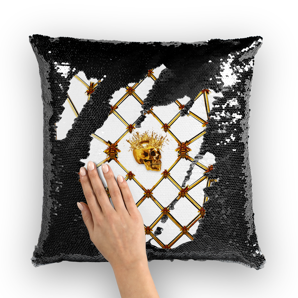 Golden Skull & Magenta Star- French Gothic Sequin Pillowcase or Throw Pillow in White | Le Leanian™