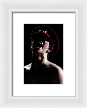 Dark Portrait of The Scream Wearing a Military Hat- Framed Fine Art Print