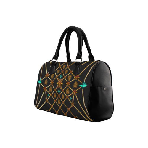 Women's Handbag-Boston Bag- Gold Bee & Ribs Pattern in Color BLACK