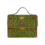 Golden Skull and Honey Bee Design- Clutch Handbag in color Olive Green