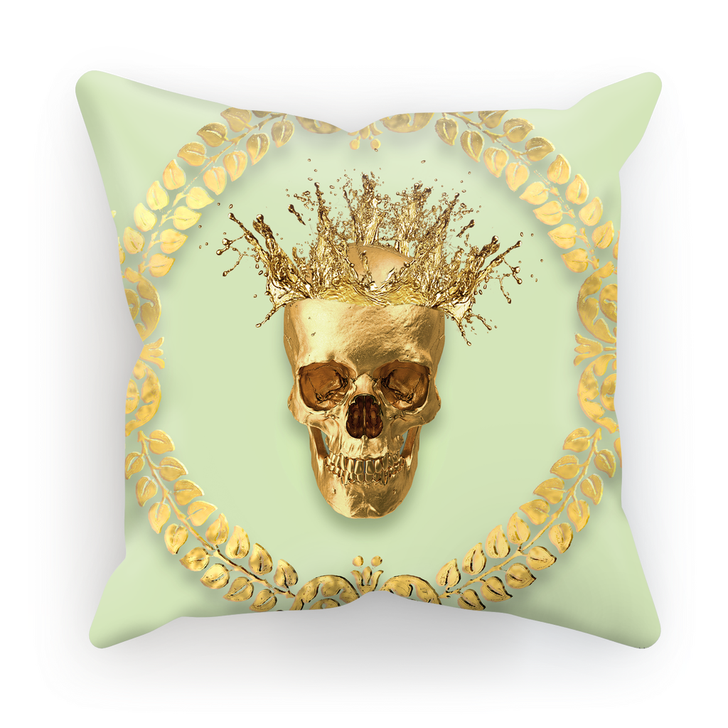 Caesar Gilded Skull- French Gothic Satin & Suede Pillowcase in Pale Green | Le Leanian™