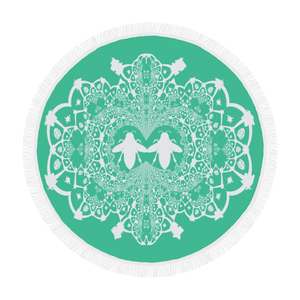 Baroque Hive Relief- Circular French Gothic Medallion Throw in Bold Jade Teal | Le Leanian™
