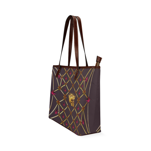Skull & Magenta Stars- Classic French Gothic Tote Bag in Muted Eggplant Wine | Le Leanian™