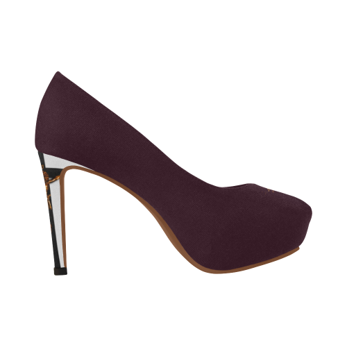 Dripping in Gold Skull & Cross- Women's French Gothic Heels in Eggplant Wine-Peep Heel | Le Leanian™