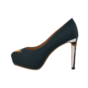 Dripping in Gold Skull & Cross- Women's French Gothic Heels in Midnight Teal- Peep Heel | Le Leanian™