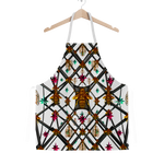 Classic Apron-ABSTRACT MULTI COLOR HONEY BEE PATTERN-Color WHITE