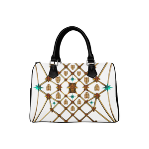 Women's Handbag-Boston Bag- Gold Bee & Ribs Pattern in Color WHITE