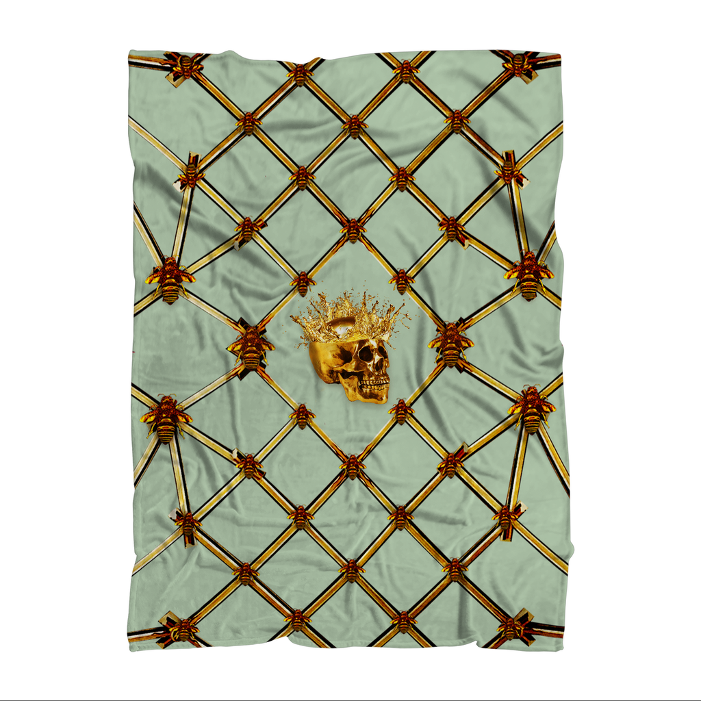 Gold Skull and Honey Bee- Polar Fleece- Classic Blanket in Pastel Blue- Quail Egg Blue