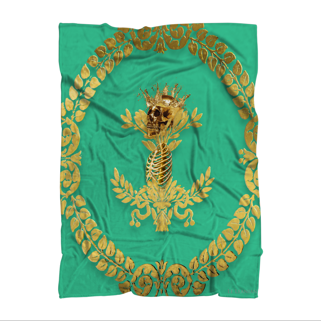Caesar Skull Relief- Classic French Gothic Fleece Blanket in Bold Jade Teal | Le Leanian™