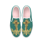 Women's Gold Wreath-Gold Skull and Ribs-Slip-On Sneakers-Vans- Color JADE GREEN BLUE AQUA