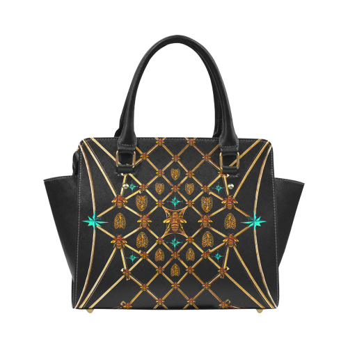 Women's Honey Bee, Ribs, Star Pattern- Satchel Handbag in Color BLACK