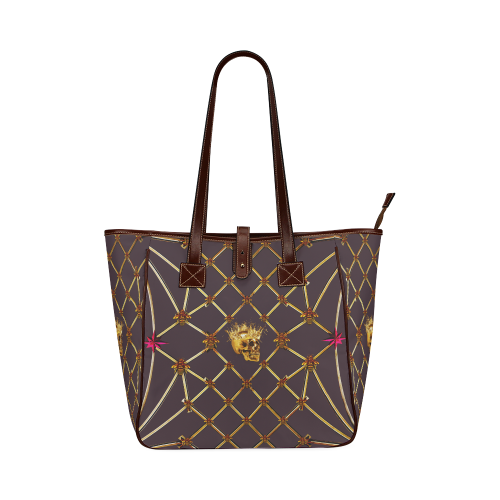 Skull & Honeycomb- Classic French Gothic Upscale Tote Bag in Muted Eggplant Wine | Le Leanian™