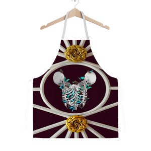 Siamese Skeleton and Morpho Butterfly Classic Apron- French Chic- French Gothic- Gothic Chic- Color Dark Red- Eggplant- Wine- Purple