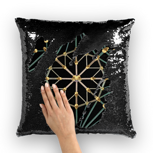 Skull Cathedral- French Gothic Sequin Pillowcase or Throw Pillow in Back to Black | Le Leanian™
