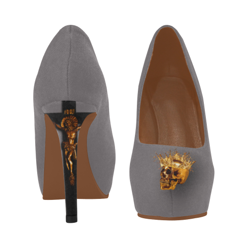 Dripping in Gold Skull & Cross- Women's French Gothic Heels in Lavender Steel | Le Leanian™