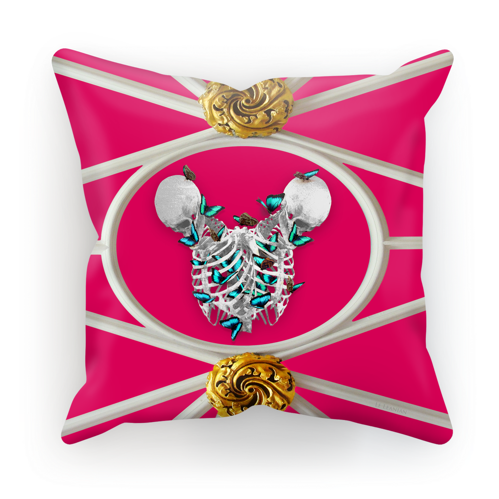 Versailles Siamese Skeletons with Teal Butterfly Rib Cage- in Fuchsia Pink