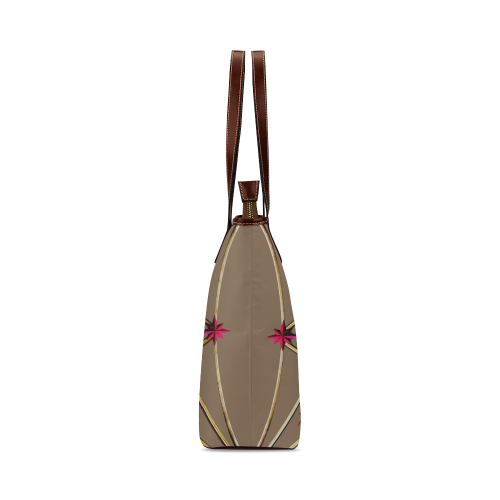 Skull & Magenta Stars- Classic French Gothic Tote Bag in Neutral Camel | Le Leanian™