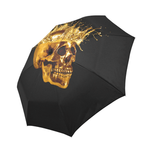 Cirque- Circus Metallic Gold Skull Umbrella- in Color Solid BLACK