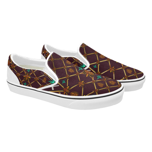 Bee Divergence Ribs & Teal Stars- Women's French Gothic Slip-On Sneakers in Eggplant Wine | Le Leanian™