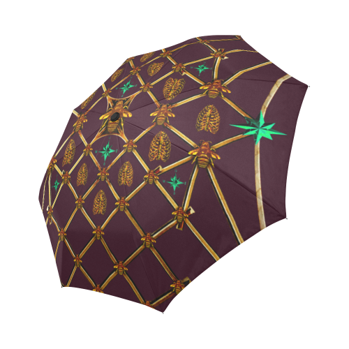 Custom UMBRELLA-Gold GILDED HONEY BEE, RIBS & STAR PATTERN- Color EGGPLANT WINE, WINE RED, BLOOD PURPLE