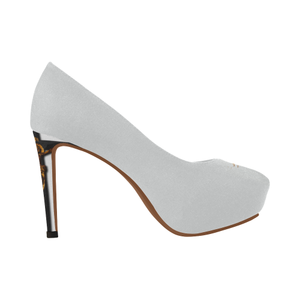 Dripping in Gold Skull & Cross-Women's French Gothic Heels in Lightest Gray-Peep Heel | Le Leanian™