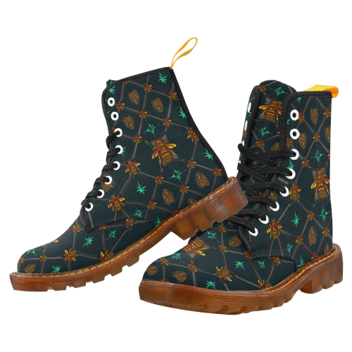 Women's Marten Style Military Boot- BEE RIBS STAR Pattern-Color NAVY BLUE