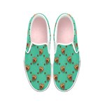 Golden Bees & Skulls- Women's French Gothic Slip-On Sneakers in Bold Jade Teal | Le Leanian™