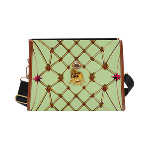 Skull and Honeycomb- Mini Brief Handbag in Light Green | Le Leanian™