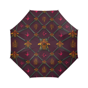 Bee Divergent Ribs & Magenta Stars- Semi Auto Foldable French Gothic Umbrella in Eggplant Wine | Le Leanian™