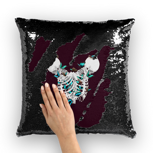 Versailles Divergence Teal Duality- French Gothic Sequin Pillowcase or Throw Pillow in Eggplant Wine | Le Leanian™