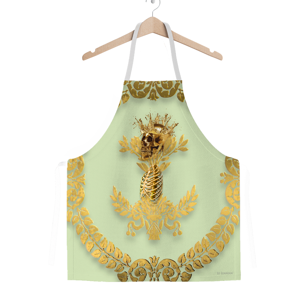 GOLD SKULL & GOLD WREATH-Classic APRON in Color PASTEL GREEN