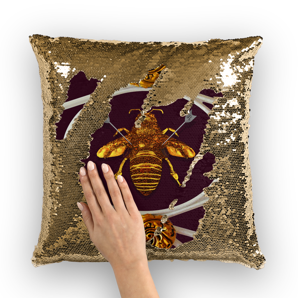 Versailles Queen Bee -French Gothic Sequin Pillow Case Throw Pillow- Eggplant Wine Red Purple