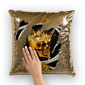 Golden Skull Sequin Pillow Case-interior decorating- design-Cushion Cover-French Gothic-Gothic Chic-Black