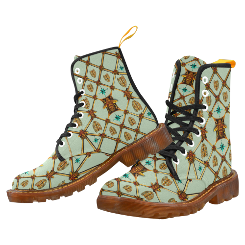 Women's Gilded Honey Bee and Ribs Pattern- Military Marten Style Lace-Up Boots- in Color Pastel Blue, Blue