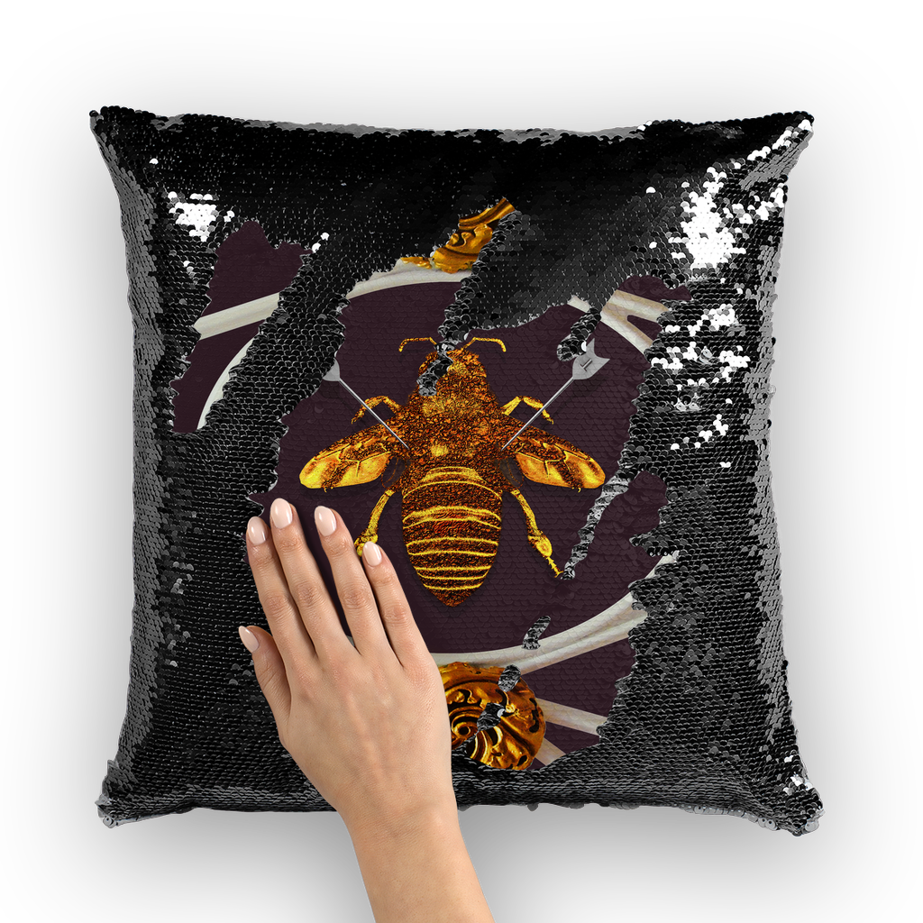 Versailles Bee Divergent- French Gothic Sequin Pillowcase or Throw Pillow in Muted Eggplant Wine | Le Leanian™