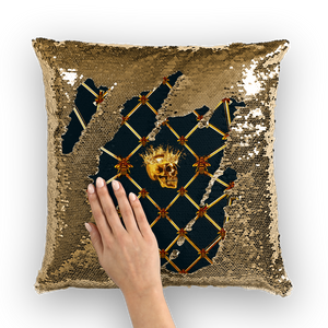 French Gothic Honey Bee & Rib Star Pattern-Sequin Pillowcase & Throw Pillow-Navy Blue