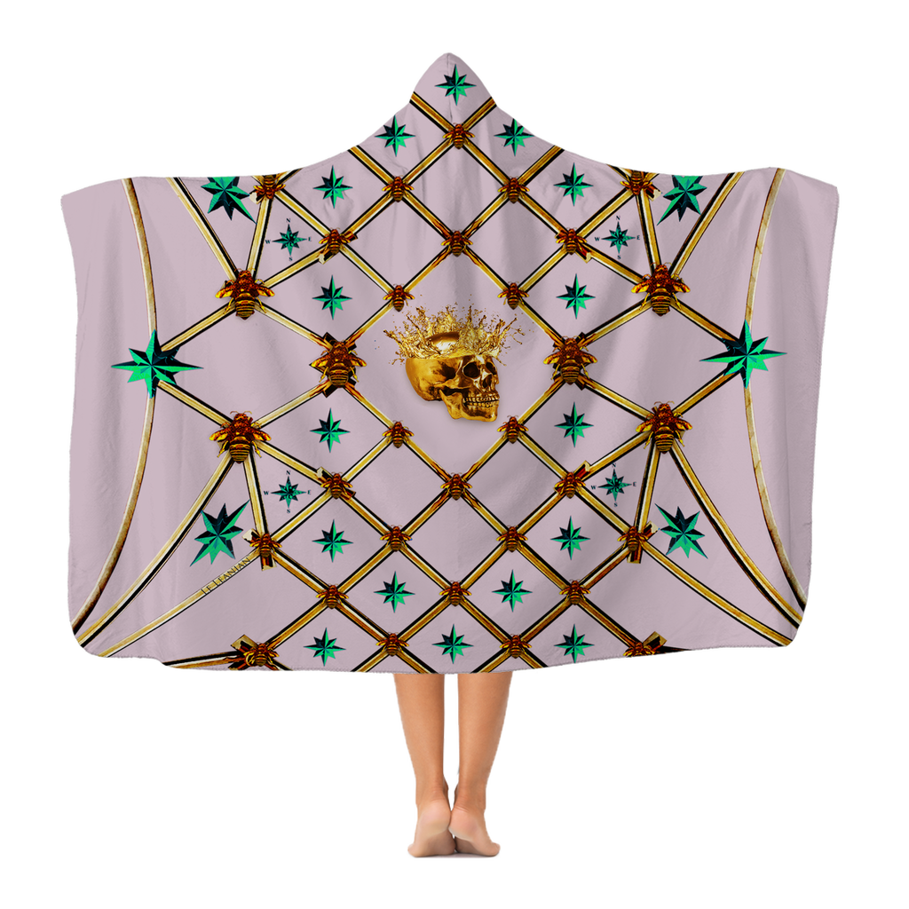 Skull Gilded Honeycomb & Jade Stars- Adult & Youth Hooded Fleece Blanket in Nouveau Blush Taupe | Le Leanian™