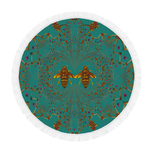Baroque Honey Bee Extinction- Circular French Gothic Medallion Throw in Jade | Le Leanian™