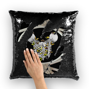 Versailles Divergence Skull Golden Whispers- French Gothic Sequin Pillowcase or Throw Pillow in Back to Black | Le Leanian™