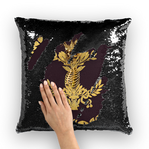 Caesar Skull Relief- French Gothic Sequin Pillowcase or Throw Pillow in Muted Eggplant Wine | Le Leanian™