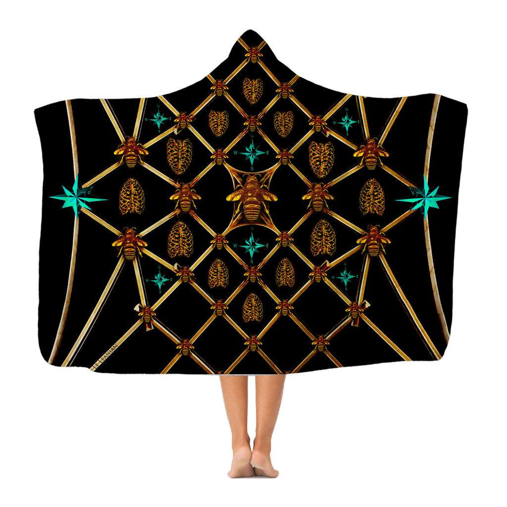 Gold Bee, Ribs and Teal Stars-Hooded Fleece Blanket in BLACK