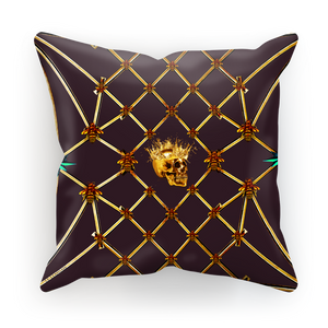 Gilded Skull & Honey Bee Satin Pillowcase-Eggplant wine Purple